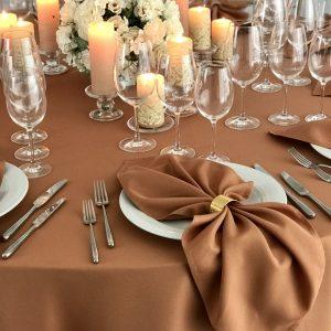 Terakotos spalvos stalo servetėlė 50x50cm. Nuomos kaina 0,5 €.