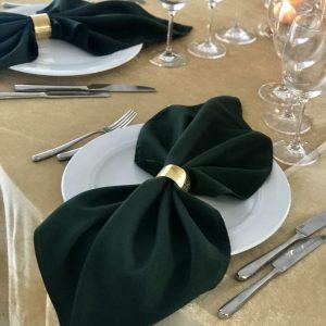 Tamsiai žalios spalvos stalo servetėlė 50x50cm. Nuomos kaina 0,5 €.